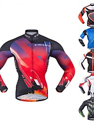baratos -Realtoo Homens Manga Longa Camisa para Ciclismo - Vermelho e Branco Preto / Vermelho Verde / preto Clássico Moto Blusas Elastano Polyster / Micro-Elástica