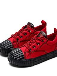 Недорогие -Мальчики Обувь Полотно Весна & осень Удобная обувь / Вулканизованная обувь Кеды для Дети Черный / Красный
