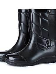 Недорогие -Муж. Резиновые сапоги ПВХ Наступила зима Английский Ботинки Сохраняет тепло Сапоги до середины икры Черный