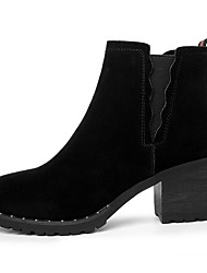 저렴한 -여성용 구두 스웨이드 가을 겨울 부츠 청키 굽 둥근 발가락 부티 / 앵클 부츠 일상 / 사무실 및 경력 용 블랙