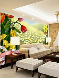Недорогие -3d подсолнечника цветочные арт деко росписи обоев холст настенные покрытия