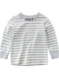 저렴한 -아동 남아 베이직 일상 / 데이트 블루 & 화이트 줄무늬 패치 워크 긴 소매 면 / 스판덱스 블라우스 푸른