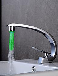 abordables -Robinet lavabo - LED Chrome Set de centre Mitigeur un trouBath Taps