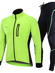 Недорогие -Nuckily Муж. Велокуртка и брюки - Черный / Зеленый / Синий Велоспорт Наборы одежды, С защитой от ветра, Флисовая подкладка, 3D-панель, Сохраняет тепло, Зима, Полиэстер, Спандекс Однотонный