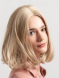Недорогие -Парики из искусственных волос Естественный прямой Стиль Стрижка боб Без шапочки-основы Парик Блондинка Светло-золотой Искусственные волосы 12 дюймовый Жен. Новое поступление Природные волосы Блондинка