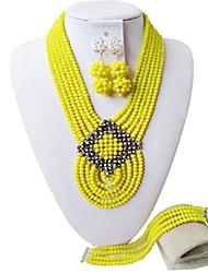 Недорогие -Жен. Многослойность Комплект ювелирных изделий - Мода Включают Струнные ожерелья Коричневый / Красный / Ярко-розовый Назначение Для вечеринок
