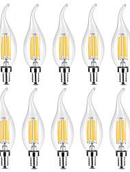 abordables -YWXLIGHT® 10pcs 6 W 500-600 lm E14 Ampoules Bougies LED / Ampoules à Filament LED C35 6 Perles LED COB Blanc Chaud / Blanc 220-240 V