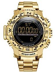 Недорогие -Муж. Спортивные часы Японский Японский кварц 30 m Защита от влаги Календарь Фосфоресцирующий Нержавеющая сталь Группа Аналого-цифровые Мода Черный / Золотистый - Черный Золотистый