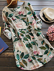 Недорогие -Жен. Классический Рубашка Платье - Цветочный принт До колена