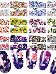 Недорогие -48 pcs Наклейка для переноса воды Цветы / ботанический маникюр Маникюр педикюр Многофункциональный / Лучшее качество Милая / Мода Повседневные