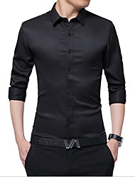 billige -Herre - Ensfarvet Forretning Skjorte