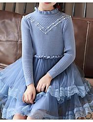 Недорогие -Дети Девочки Классический Однотонный Длинный рукав Хлопок / Полиэстер Платье Синий 140