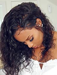 Недорогие -человеческие волосы Remy Лента спереди Парик Rihanna стиль Бразильские волосы Кудрявый Черный Парик 150% Плотность волос с детскими волосами Мягкость Природные волосы Glueless Отбеленные узлы Черный