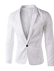 저렴한 -남성용 일상 사업 보통 블레이져, 솔리드 셔츠 카라 긴 소매 폴리에스테르 퍼플 / 밝은 블루 / 네이비 블루 XL / XXL / XXXL