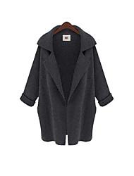 رخيصةأون -نسائي بني أبيض رمادي حجم واحد معطف أساسي لون سادة