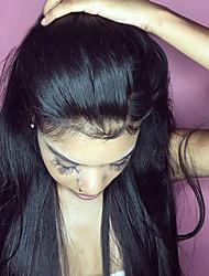 Недорогие -человеческие волосы Remy Лента спереди Парик стиль Бразильские волосы Прямой Черный Парик 130% 150% 180% Плотность волос с детскими волосами Женский Горячая распродажа 100% девственница Необработанные
