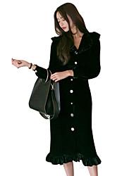 Недорогие -Одри Хепберн Ретро Маленькое черное платье В стиле 1930-х Оса-Waisted Костюм Жен. Платья Черный Винтаж Косплей Бархат Длинный рукав V-образный вырез Midi