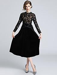 Недорогие -миди стройное платье свинг для женщин с высокой талией чёрный s m l xl