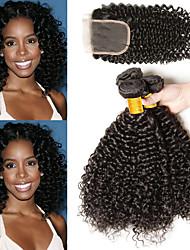 Недорогие -3 комплекта с закрытием Бразильские волосы Kinky Curly Не подвергавшиеся окрашиванию Необработанные натуральные волосы Человека ткет Волосы Сувениры для чаепития Пучок волос 8-20 дюймовый