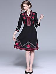 Недорогие -женщины выход / клуб миди стройное маленькое черное платье с высокой талией глубокий v черный s m l xl