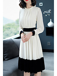 abordables -Femme Midi Gaine Robe Blanc L XL XXL Manches Longues
