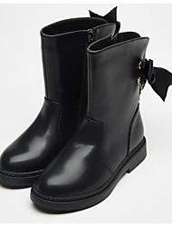 Недорогие -Девочки Обувь Полиуретан Зима Модная обувь Ботинки Бант / Молнии для Дети Черный / Коричневый / Сапоги до середины икры