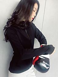 Недорогие -BIGTREE Жен. Вырез-хомут Молния Худи и толстовка Виды спорта Сплошной цвет Верхняя часть Для Йога, Бег, Разрабатывать Длинный рукав Спортивная одежда С защитой от ветра, Быстровысыхающий, Потеря веса
