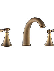 Bathroom Sink Faucet Widespread Antique Br Three Holes Two Handles Hoath Taps