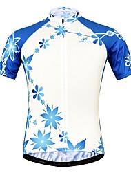 Недорогие -JESOCYCLING Жен. С короткими рукавами Велокофты - Синий / белый Цветочные / ботанический Велоспорт Джерси Верхняя часть Быстровысыхающий Виды спорта 100% полиэстер / Эластичная / Горные велосипеды