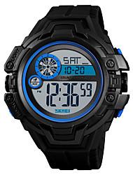 Недорогие -SKMEI Муж. Спортивные часы Армейские часы электронные часы Цифровой Стеганная ПУ кожа Черный / Зеленый 50 m Будильник Секундомер С двумя часовыми поясами Цифровой На каждый день Мода -  / Один год