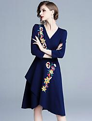 Недорогие -женщины выходят на работу / выше колена платье-линия высокая талия глубокий v королевский синий s m l xl