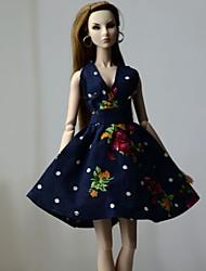 Недорогие -Платье куклы Платья Для Barbie Цветочный принт Цветы Цветочные ботанический Синий с черным Ткань Хлопковая ткань Нетканый материал Платье Для Девичий игрушки куклы