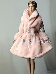 Недорогие -Кукольный наряд Кукольное пальто Жакет Для Barbie Розовый Нетканое полотно Хлопковая ткань Полиэстер Пальто Для Девичий игрушки куклы