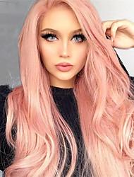 Недорогие -Не подвергавшиеся окрашиванию Полностью ленточные Парик Бразильские волосы Прямой Розовый Парик Глубокое разделение 130% Плотность волос 12-24 дюймовый с детскими волосами 100