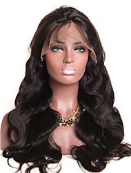 Недорогие -человеческие волосы Remy Лента спереди Парик Бразильские волосы Естественные кудри Парик 130% Плотность волос Природные волосы С отбеленными узлами Жен. Длинные