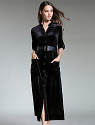 Недорогие -Жен. Праздники На выход Бархат Тонкие Рубашка Платье Средней длины / Сексуальные платья