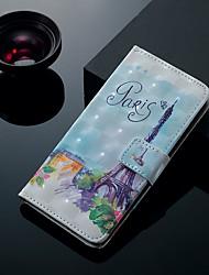 Недорогие -Кейс для Назначение SSamsung Galaxy J7 (2017) / J7 (2016) / J6 (2018) Бумажник для карт / со стендом / Флип Чехол Эйфелева башня Твердый Кожа PU
