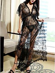 Недорогие -Жен. Кружева Супер секси Сорочка / халат Ночное белье Однотонный Черный Один размер