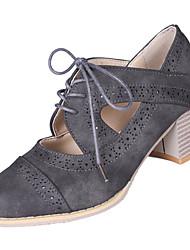 Недорогие -Жен. Полиуретан Зима Английский Туфли на шнуровке На толстом каблуке Круглый носок Черный / Серый / Коричневый