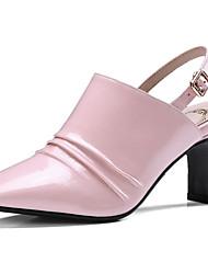 Недорогие -Жен. Наппа Leather Весна Милая / Минимализм Обувь на каблуках На толстом каблуке Квадратный носок Черный / Зеленый / Розовый