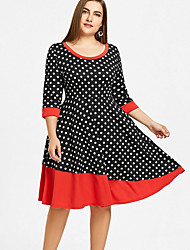 Недорогие -Жен. Большие размеры Оболочка Платье С принтом До колена