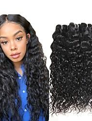 Недорогие -3 Связки Индийские волосы Волнистые Натуральные волосы Wig Accessories Человека ткет Волосы Уход за волосами 8-28 дюймовый Естественный цвет Ткет человеческих волос Машинное плетение