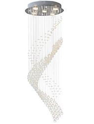 abordables -5 lumières Lampe suspendue Lumière dirigée vers le bas Plaqué Métal Cristal, LED 110-120V / 220-240V Blanc Crème / Blanc Neige Ampoule incluse / GU10