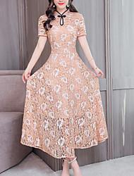 Недорогие -женское платье в миди-платье с круглым вырезом светло-голубой хаки лаванда м л xl xxl