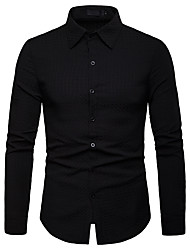 Недорогие -Муж. Рубашка Деловые / Классический Однотонный