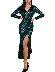 Недорогие -Русалка V-образный вырез До щиколотки Пайетки Торжественное мероприятие Платье с Пайетки от LAN TING Express