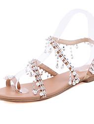 Women s PU(Polyurethane) Summer Casual Sandals Flat Heel Open Toe Rhinestone    Imitation Pearl Brown