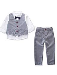 Недорогие -Дети Дети (1-4 лет) Мальчики Активный Классический Для вечеринок Повседневные Однотонный Длинный рукав Обычный Хлопок Набор одежды Светло-серый