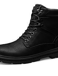 billige -Herre Snøstøvler Lær Høst vinter Vintage / Fritid Støvler Hold Varm Støvletter Svart