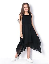 お買い得  -子供 女の子 ベーシック 日常 ソリッド ノースリーブ ドレス ブラック